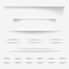 Paper shadows effect vector illustration or realistic white page borders for web site design or background texture and seamless elements