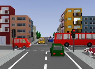 Kreuzung mit roter Ampel. 3d render