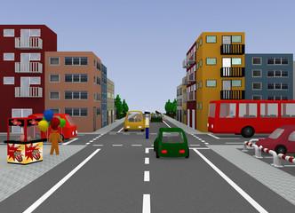 Stadtansicht mit Verkehrssituation: Verkehrsregelung durch einen Polizisten, freie Fahrt. 3d render