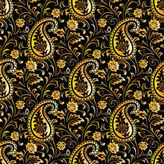 Seamless bright yellow paisley wallpaper on black background