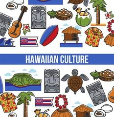 Hawaii travel landmark symbols vector poster