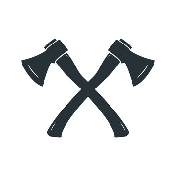 Black silhouette of crossed axes on a white background. Vector illustration