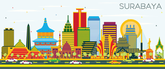 Surabaya Indonesia Skyline with Color Buildings and Blue Sky. Wall mural