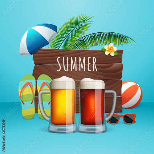 339f836e5 Summer beer poster. Two beer mugs on the summer background with wooden  logo