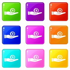 Dollar in hand icons of 9 color set isolated vector illustration