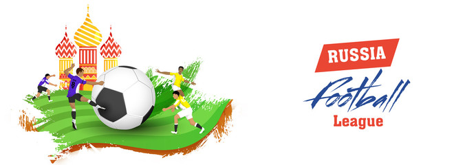 Social media header or banner design with players chartacter and Onion dome for Russia Football league concept.
