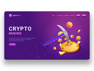 landing page design of Bitcoin wallet transaction with lady crypto currency executive exchange virtual currency into real currency.