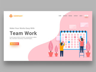 Illustration of Girls character working together, responsive landing page or website banner for teamwork concept.