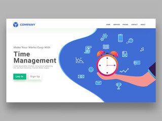 Responsive landing page design for time management concept with a hand holding alarm clock for performing multiple task to do in a certain time frame.