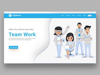 Business people or colleagues standing in different poses, responsive landing page or website template for teamwork concept.