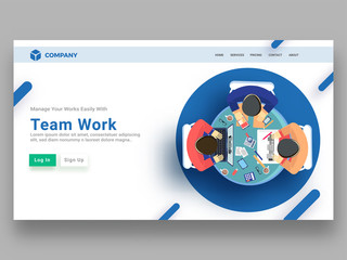 Top view of business people working together, responsive landing page or hero banner desing for teamwork concept.