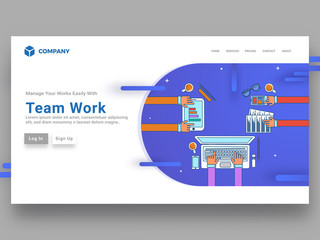 Top view of flat illustration of business people work desk or workspace landing page for team work concept.