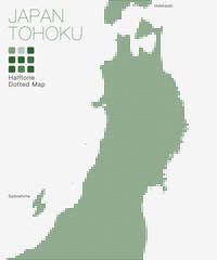 Tohoku, Japan #Halftone Dotted Map ( Vector Illustration )