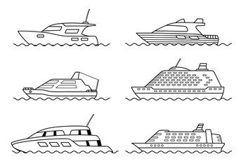 Set of passenger ships. Sea transportation liners. Yachts set.