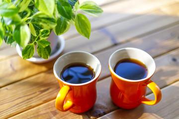 緑の植物とコーヒーカップ