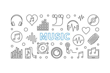 Music vector horizontal banner made with outline icons