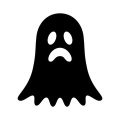 Sad ghost, phantom or apparition haunting Halloween flat vector icon for holiday apps and websites