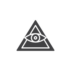 All seeing eye pyramid vector icon. filled flat sign for mobile concept and web design. Mason Pyramid eye simple solid icon. Freemason and spiritual symbol, logo illustration. Vector graphics
