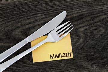 Mahlzeit Visitenkarte mit Messer und Gabel