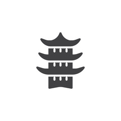Japanese temple vector icon. filled flat sign for mobile concept and web design. Taoism simple solid icon. Symbol, logo illustration. Pixel perfect vector graphics