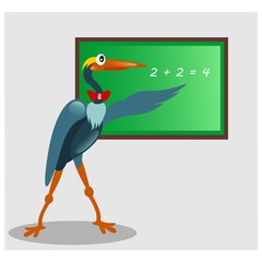 funny stork crane heron teach mathematics mascot cartoon character
