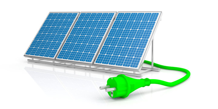 Green power plug and solar panel isolated on white background. 3d illustration