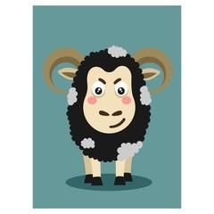 funny cute sheep goat livestock animal mascot cartoon character