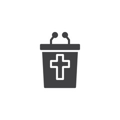 Christian tribune vector icon. filled flat sign for mobile concept and web design. religion simple solid icon. Symbol, logo illustration. Pixel perfect vector graphics
