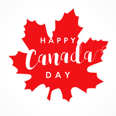 Happy Canada Day on maple leaf card. Canada Day, national holiday 1st of july with vector text on red maple leaf. Congratulating celebrating Canadian anniversary of independence of 1867 years