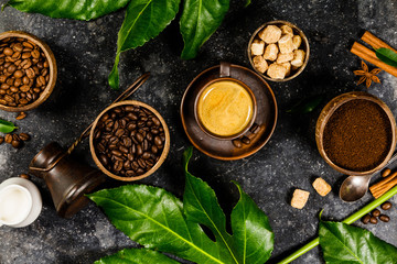 Coffee composition on dark rustic background
