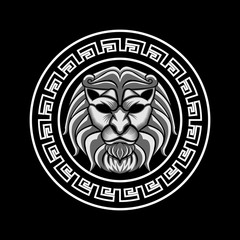 Lion Head in circle vector illustration