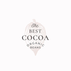 The Best Cocoa Beans Abstract Vector Sign, Symbol or Logo Template. Elegant Cacao Bean Sillhouette with Retro Typography. Vintage Luxury Emblem.