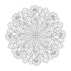 Round element for coloring book. Black and white floral pattern. Mandala.
