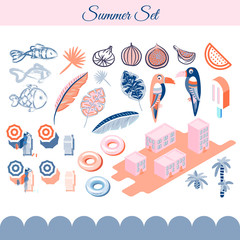 Summer holidays vector clip art objects. Pink and blue beach vacation objects.