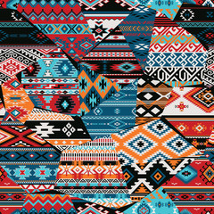 Native American fabric abstract patchwork vector seamless patterns