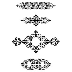 Ornamental borders, vector vintage page dividers. Classical decoration elements illustration