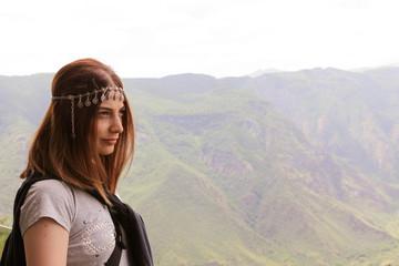 Armenian woman at the canyon.