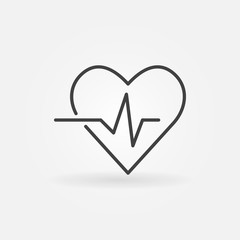 Heartbeat vector icon - heart rate linear symbol or logo