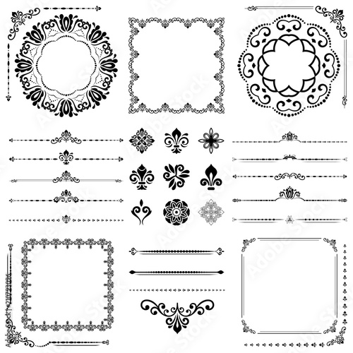 Vintage set of horizontal, square and round elements. Different ...