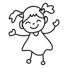 hand drawing cartoon character happy kid