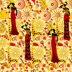 Seamless vector background on an African theme with traditional elements