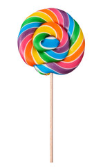 Lollipop swirl large candy on wooden stick hipster rainbow colored isolated on white background
