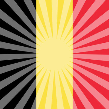 Belgian National Day. Flag of Belgium. Rays from the center