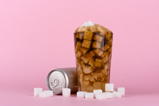 Unhealthly diet with sweet sugary soft drinks concept