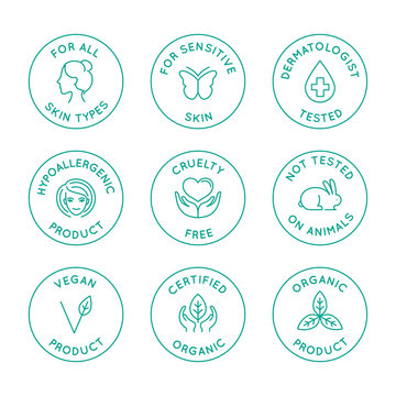 Vector set of linear circle design elements, logo templates, icons and badges for natural organic cosmetics and beauty products with safe eco ingredients
