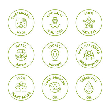 Vector set of linear circle design elements, logo templates, icons and badges for natural organic cosmetics with safe wild-harvested plant-based eco ingredients