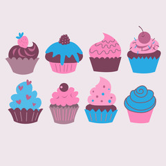 Set with different decorative cupcakes and cakes