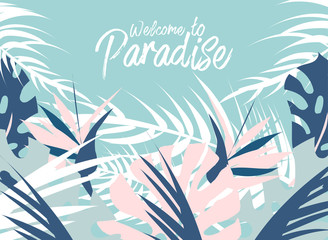 Tropical jungle summer illustration of different palm leaves and wild flowers. Summer paradise. Pastel print for advertising, brochure, banner, invitation, business, wedding, birthday, party