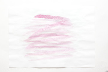 Color pink splash watercolor hand painted on white background, artistic decoration or background .