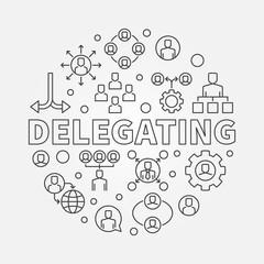 Delegating vector round concept linear illustration
